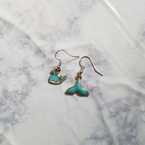 Hand Crafted Jewelry - WHALE TAIL   Enamel Earrings Stainless Steel Cute